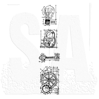 Tim Holtz Blueprint Strip Cling Stamps - Industrial