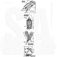 Tim Holtz Blueprint Strip Cling Stamps - Christmas 5