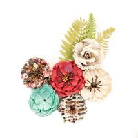 Prima Marketing, Midnight Garden Mulberry Paper Flowers 9/Pkg - Light & Dark