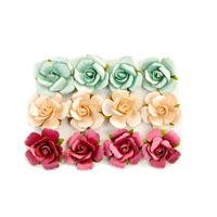 Prima Marketing, Midnight Garden Pearlescent Paper Flowers, 12/Pkg- In The Dark