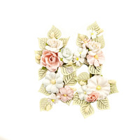 Prima Marketing, Poetic Rose Paper Flowers 4/Pkg - Poetic Symphony With Leaves