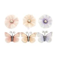 Prima Marketing, Poetic Rose Paper Flowers 6/Pkg - Unique Poems With Butterflies