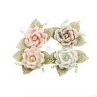 Prima Marketing, Poetic Rose Paper Flowers 4/Pkg - Untold Stories With Leaves