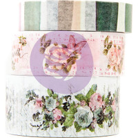 Prima Marketing, Poetic Rose Decorative Tape 3/Pkg - 10mm To 20mm, 10 Yards Each