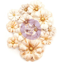 Prima Marketing, Pretty Pale Paper Flowers 12/Pkg Light Dunes With Glitter Accentsl