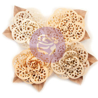 Prima Marketing, Pretty Pale Paper Flowers 4/Pkg Organic Elegance With Die-Cut Design