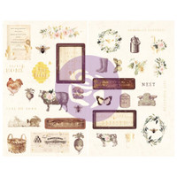 "Prima Marketing, Spring Farmhouse Chipboard Stickers 5""X8"" 2/Pkg Icons With Foil Accents"