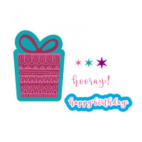 Sizzix Framelits Die Set 7PK With Stamps - Birthday Gift