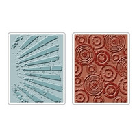 Sizzix Textured Fades Embossing Folders 2PK - Rays & Retro Circles Set by Tim Holtz