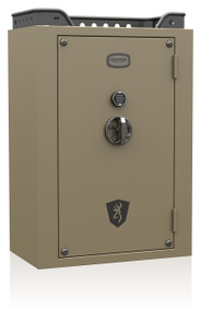 Wide size safe, tactical design, 37 cubic feet, 43 long gun capacity, made in the USA, tactical handle.  (Shown here in Coyote Tan)