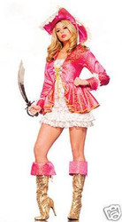 PINK PIRATE set captain womens sexy adult costume M L