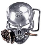 SKULL BUCKLE belt rose pewter pirate goth brass gothic