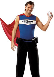 CAPTAIN 6 PACK drink holder beer party funny adult mens halloween costume L/XL