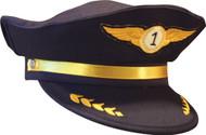 Jr. AIRLINE PILOT CAP hat kids boys plane flight halloween costume accessory