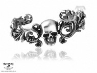 SKULL cuff pirate bracelet bangle costume pewter gothic