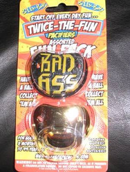 BAD ASS & GOLD PIMP PACIFIER 2 pack set shower gift boys baby infant binky