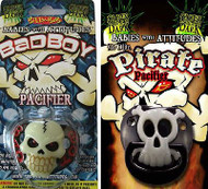BAD BOY & PIRATE PACIFIER baby boys infant glow dark skull halloween shower gift