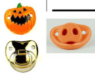 PUMPKIN & PIGLET & GOLD PACIFIER 3 pack infant shower gift halloween boys girls