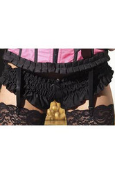 black MINI RUFFLED BOOTY SHORTS womens sexy adult halloween costume XLarge