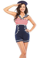 PIN UP SAILOR 40s retro sexy adult female costume halloween womens M/L 10-12