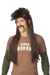 Brown Mullet Wig & Stache