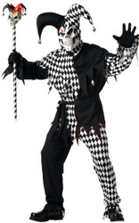 EVIL JESTER court creepy mens renaissance scare halloween costume LARGE