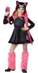 SASSY CAT black pink kitty girls meow cute dress halloween costume XS 4-6