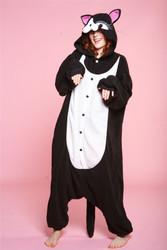 CAT JUMPSUIT adult animal costume pajamas black kitty onesie halloween b-cozy