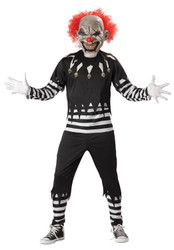 CREEPY CLOWN evil circus jester scarey mens scare goth halloween costume LARGE