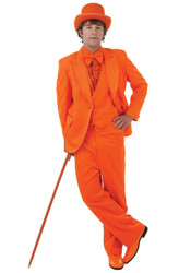ORANGE TUXEDO SET prom formal mens dumb and dumber halloween costume LARGE