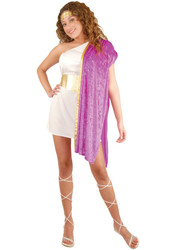 TOGA WOMAN greek roman frat party princess womens sexy halloween costume SMALL