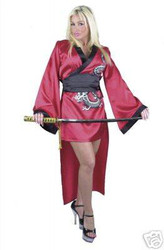 RED GEISHA kimono japenese warrior ninja sexy womens halloween costume LARGE