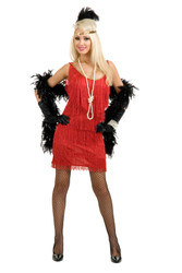 red FLAPPER 20s fringe sexy halloween costume Plus 1X