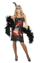 SEQUIN FLAPPER stretch red adult womens sexy costume L