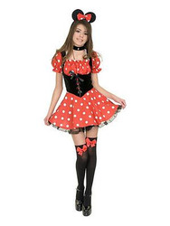 SEXY MISS MINNIE MOUSE red polka dot dress disney womens halloween costume SMALL