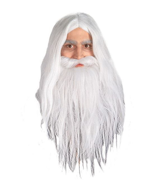 Image 1  sc 1 st  CostumeVille & WHITE GANDALF WIG AND BEARD hobbit wizard lord rings homeless ...