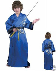 BLUE SAMURAI kung fu dragon warrior master boys kids halloween costume XL