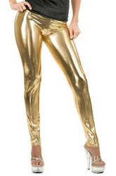 gold LEGGINGS liquid metal adult womens sexy shiny halloween costume LARGE