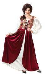brocade wine TAVERN MAID dress adult womens renaissance halloween costume XL