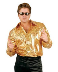 gold DISCO FEVER SHIRT 70s mens adult club costume L