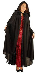 BLACK PEASANT CLOAK hooded robe vampire witch adult halloween costume accessory