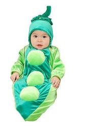 green PEA POD baby bunting garden vegetable veggie halloween costume 0-6 MONTHS
