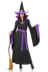 black & purple MIDNIGHT WITCH adult womens sexy halloween costume MEDIUM