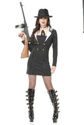 black MOB BOSS miss gangsta moll adult womens sexy halloween costume LARGE