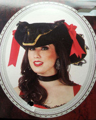 black velvet PIRATE HAT w/ RED BOW adult womens mens halloween costume ONE SIZE