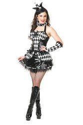 COURT JESTER jesteress harlequinn clown womens sexy halloween costume MEDIUM