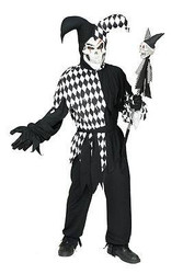 WICKED JESTER SET clown mardi gras mask adult mens halloween goth costume XL