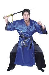 BLUE SAMURAI WARRIOR ninja dragon master kung fu adult mens halloween costume L