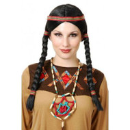 INDIAN MAIDEN WIG pig tails ribbons hair pocahontas womens halloween costume