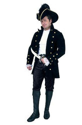 VELVET PIRATE JACKET caribean renaissance black mens halloween costume LARGE